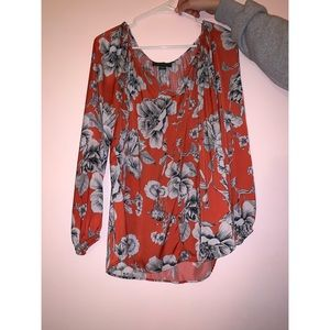 Women's Orange Blouse with Floral Pattern